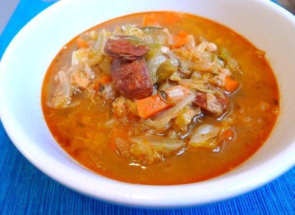 Зимний суп-солянка из капусты