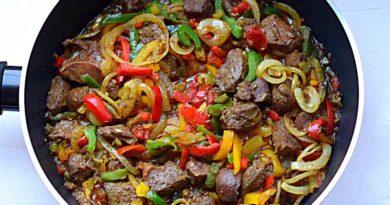 Быстрый ужин из печени с овощами