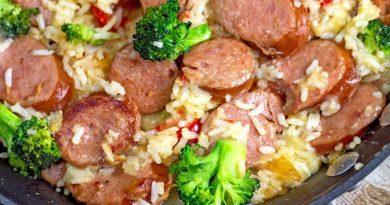 Колбаса с овощами к рису