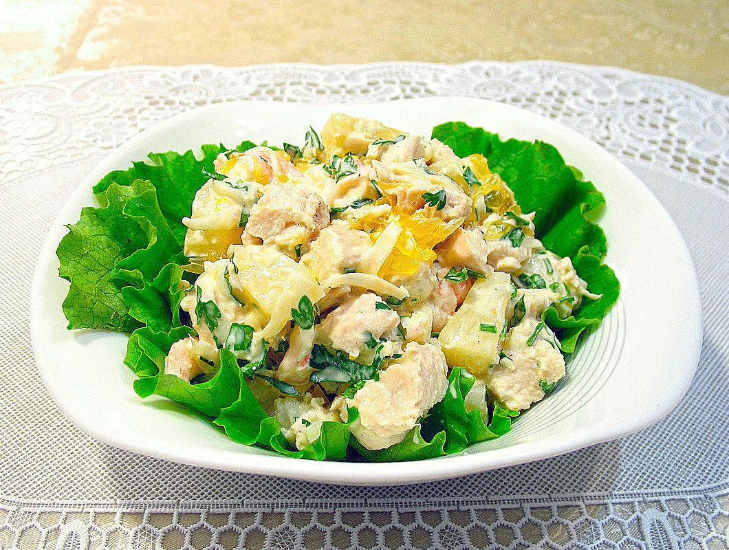 фото рецепт салата курица с ананасами любой антенный кронштейн
