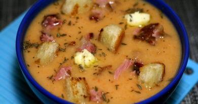 Гороховый суп + чесночное масло
