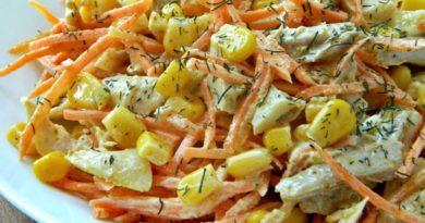 Салат с курицей, кукурузой и морковью по-корейски