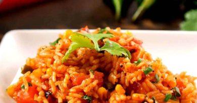 Ужин в мексиканском стиле (рис с мясом, перцем, фасолью и кукурузой)