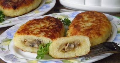Картофельные зразы с мясом/с грибами
