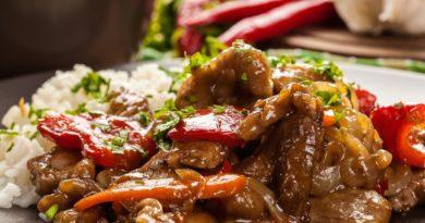 Свинина с овощами и рисом по-особому
