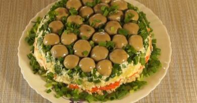 Слоеный салат «Грибная поляна» с шампиньонами и курицей
