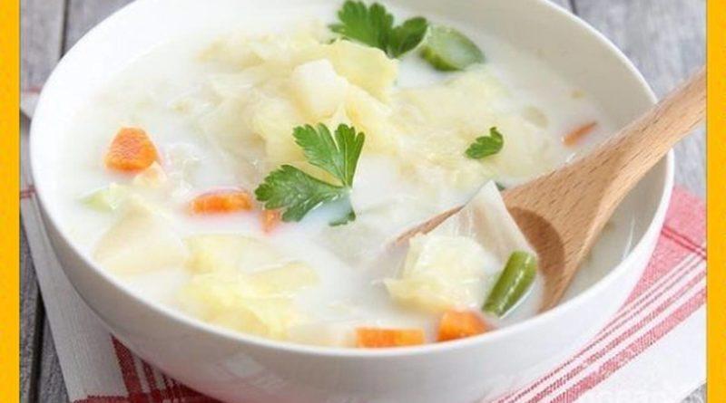 Сырно-молочный суп с овощами и макаронными изделиями