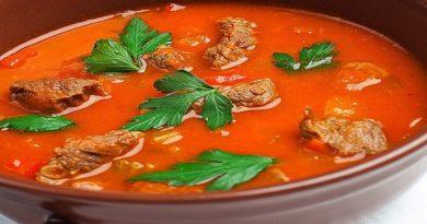 Томатный суп с телятиной