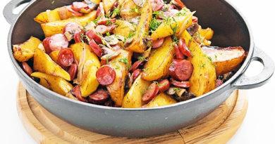 Oхотничьи колбаски с картофелем