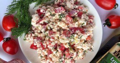 Польский салат с творогом