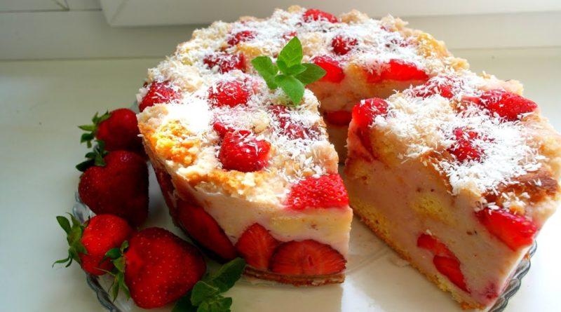 Лёгкий торт с клубникой