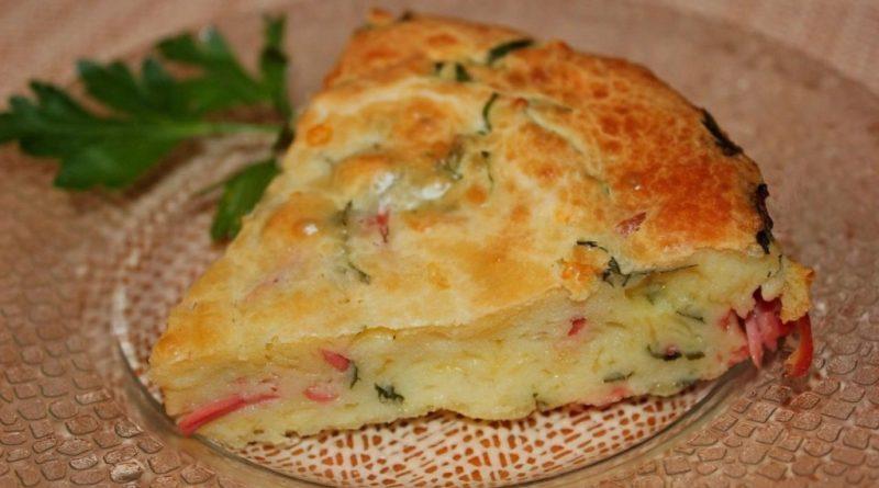 Пирог с ветчиной, сыром и луком