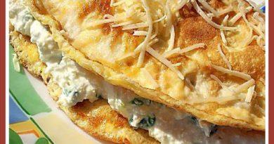 Яичный блинчик с сырно-творожной начинкой