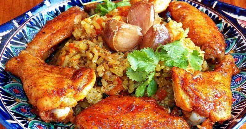 Ужин с курицей и рисом