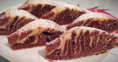 Пирог «Зебра» – простой десерт к чаю