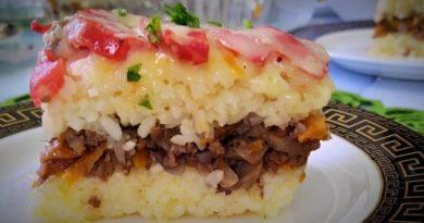 Рисовая запеканка на ужин или на обед