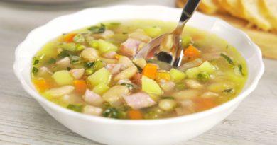 Фасолевый суп с ветчиной