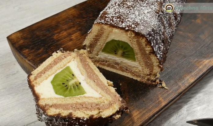 Торт без выпечки, из печенья, творога и киви