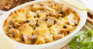 Картофель, запечённый с белыми грибами и сыром