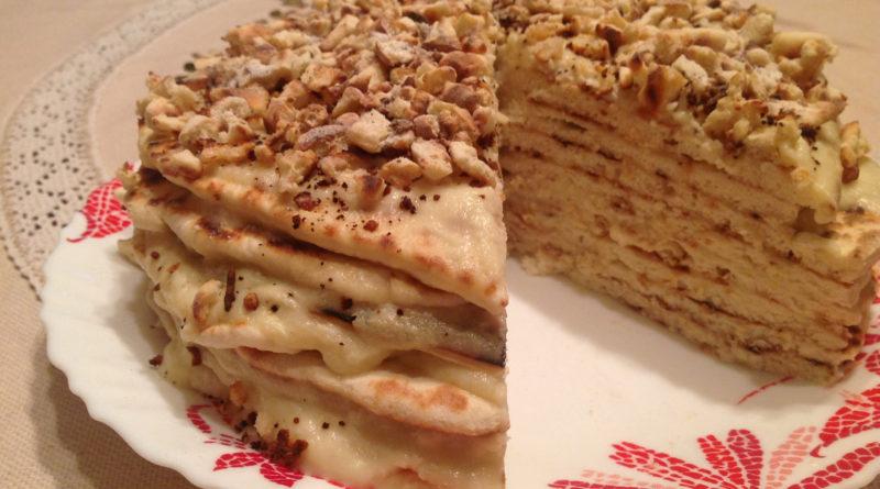 Быстрый торт на сковороде, с заварным кремом