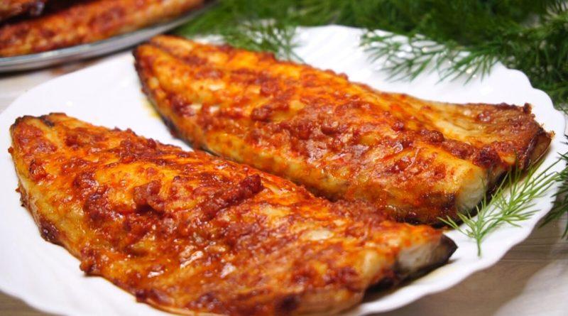 Рыба, запечённая в духовке, с паприкой