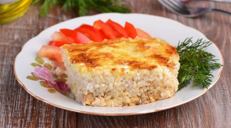 Рисовая запеканка с рыбой и овощами