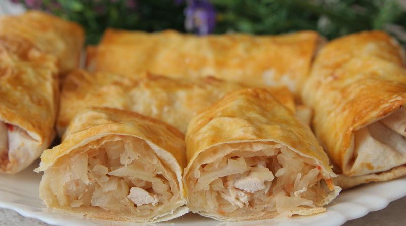 Быстрые пирожки из лаваша с капустой и мясом