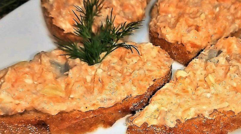 Намазка для бутербродов, из курицы с морковью и плавленым сыром