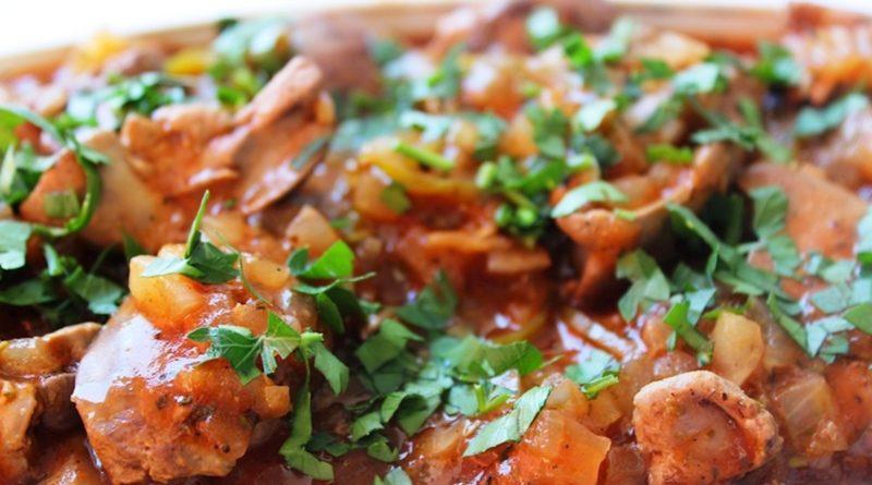 Куриная печень в сладком соусе чили