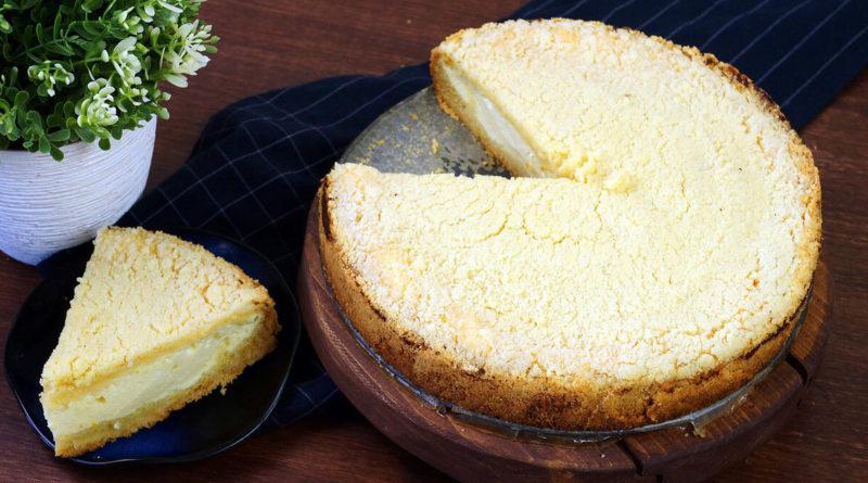 Лимонно-творожный пирог с хрустящей корочкой