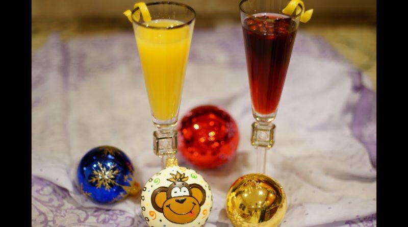 """Новогодние коктейли """"Замороженная мимоза"""" и """"Флиртини"""""""