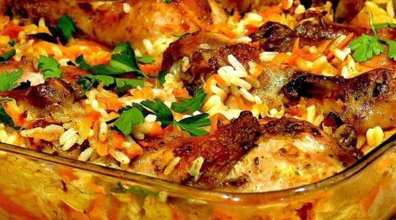 Рис с курицей в духовке, очень вкусная идея к ужину